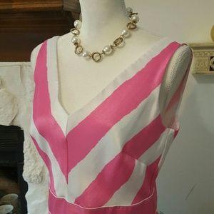KIM ROGERS PINK & WHITE STRIPE DRESS SIZE 10
